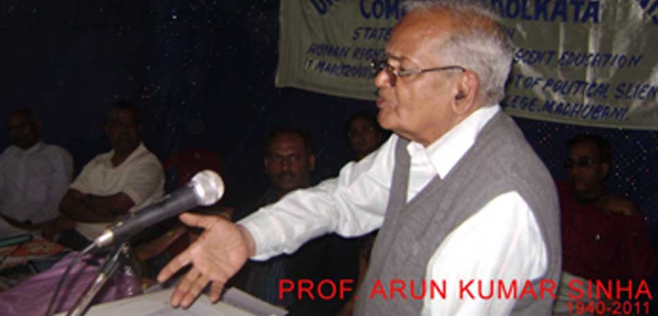Prof. Arun Kumar Sinha Centre for Literary and Social Understanding